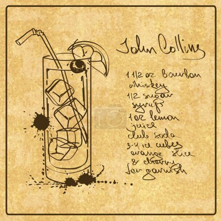 Hand drawn John Collins cocktail