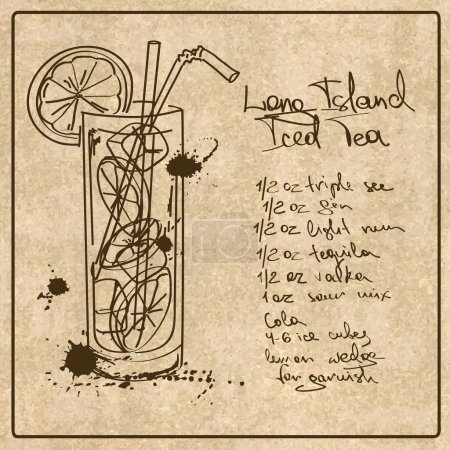Hand drawn Long Island Iced Tea cocktail
