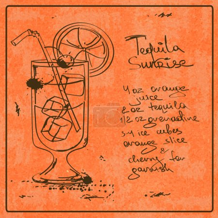 Hand drawn Tequila Sunrise cocktail