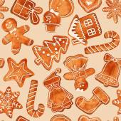 Seamless pattern of watercolor gingerbread cookies