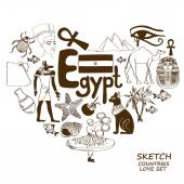 Sketch collection of Egyptian symbols Heart shape concept Travel background