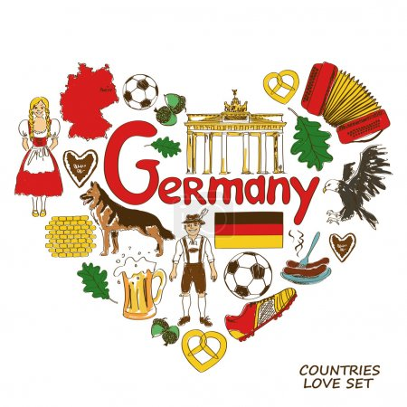 German symbols in heart shape concept