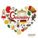 Colorful sketch collection of German symbols. Hear...