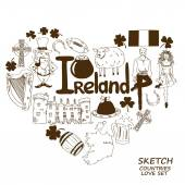 Heart shape concept of Irish symbols