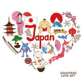 Colorful sketch collection of Japanese symbols Heart shape concept Travel background