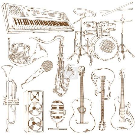 Illustration pour Ensemble dessiné à la main d'instruments de musique de croquis isolés - image libre de droit
