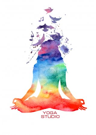 Illustration for Vector rainbow watercolor label with woman silhouette of lotus yoga pose - Royalty Free Image