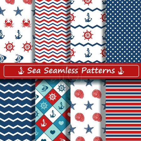 Set of sea seamless patterns