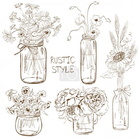 Illustration for Sketch set of isolated mason jars and bottle with flowers. Wedding, birthday, shower party design decoration elements - Royalty Free Image