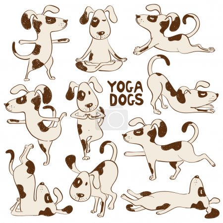 Funny dog icons doing yoga position.
