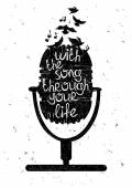 Hand drawn musical illustration with silhouette of microphone
