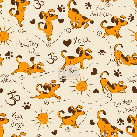 Funny seamless pattern with cartoon red dog doing ...