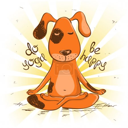 Illustration for Funny illustration with cartoon red dog sitting on lotus position of yoga. - Royalty Free Image