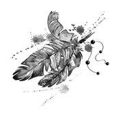 Akvarel ilustrace s ptačí peří