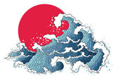 Asian illustration of ocean waves and sun