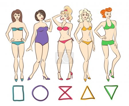 Illustration for Colorful cartoon set of isolated female body shape types. Round (apple), triangle (pear), hourglass, rectangle and inverted triangle body types. - Royalty Free Image