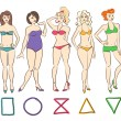Colorful cartoon set of isolated female body shape types. Round (apple), triangle (pear), hourglass, rectangle and inverted triangle body types.
