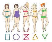 Colorful set of isolated female body shape types