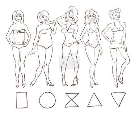 Sketch set of isolated female body shape types.