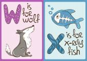 Children Alphabet with Funny Animals Wolf and X-ray Fish