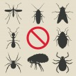 Silhouette insects set - vector illustration. eps ...