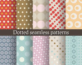 Dotted seamless patterns set