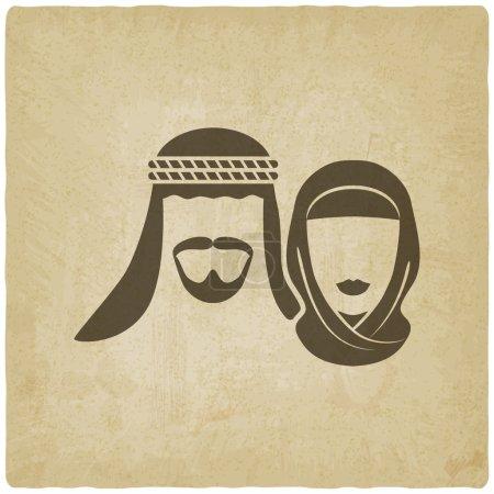 Illustration pour Homme et femme musulmans - illustration vectorielle. eps 10 - image libre de droit