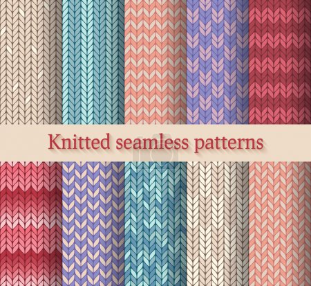 Illustration for Knitted seamless patterns set - vector illustration - Royalty Free Image