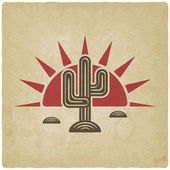 Desert cactus at sunset old background