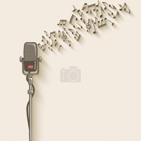 Background with retro microphone