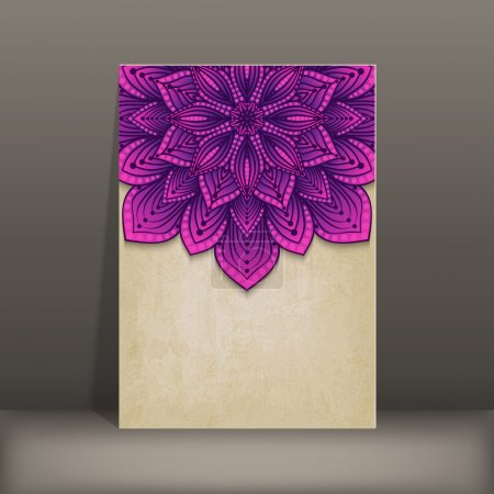 Illustration for Grunge paper card with purple floral circular pattern - vector illustration. eps 10 - Royalty Free Image
