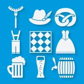 Oktoberfest beer festival icons set in white and blue colors