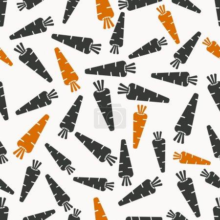 Illustration pour Motif sans couture carottes en noir et orange illustration colorsvector - eps 8 - image libre de droit