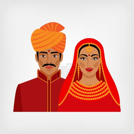 Indian man and woman in traditional clothes