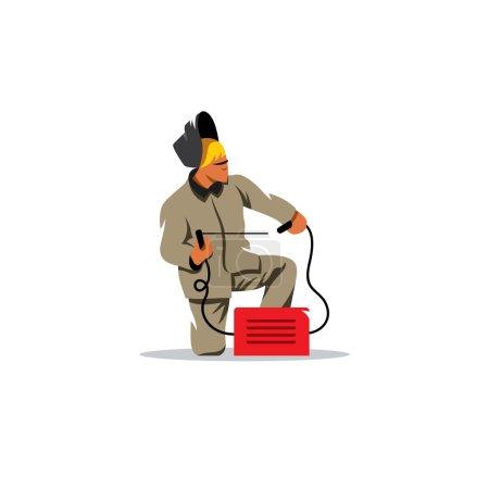 Illustration pour Travailleur de l'industrie lourde avec équipement de soudage - image libre de droit