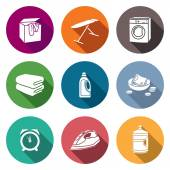 Services Dry Cleaning Icons Set Vector Illustration