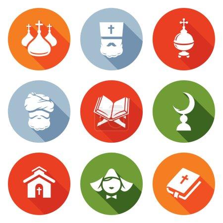 Religion Orthodoxy, Islam, Catholic Icons Set. Vector Illustration.