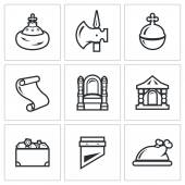 Russian Moscow ancient state and the Principality icons set Vector Illustration