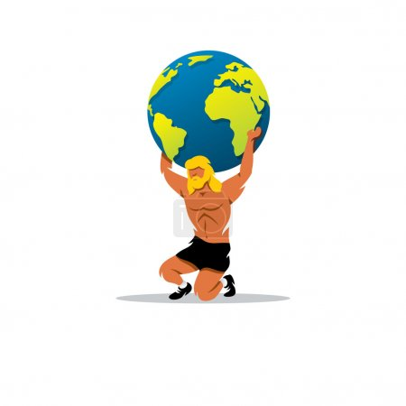 Atlas sign. In Greek mythology, the mighty Titan, holding on his shoulders vault of heaven. Vector Illustration.
