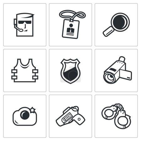 Illustration pour Collection Icônes plates isolées vectorielles sur fond blanc pour le design - image libre de droit