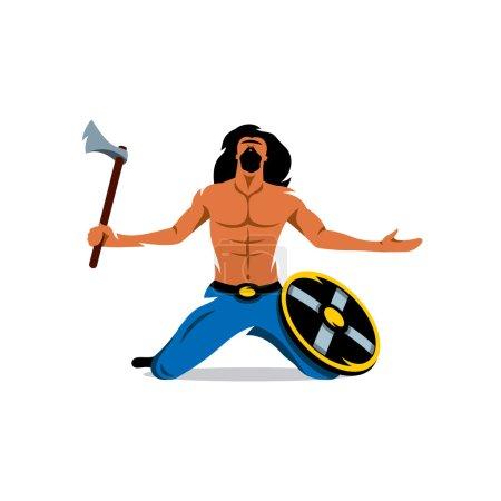 Viking warrior with ax and shield. Vector Cartoon Illustration.