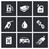 Vector Set of Fuel Icons Petrol station gasoline tank Machine oil filling pistol piston engine canister car exhaust pipe