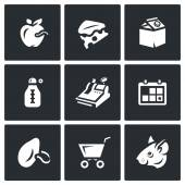 Vector Set of Overdue Product Icons Wormy Apple Mold Cheese Yogurt Storage temperature trade shelf life stench score rodent