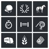 Vector Set of Equestrian Sport Icons Jockey cap Glory Horse Stopwatch Barrier Whip Trailer Oat Money