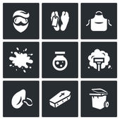 Vector Set of Cleaning after the murder Icons. Man, Morgue, Uniform, Blood, Reagent, Vacuum Cleaner, Dust Mask, Coffin, Trash can.