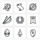Vector Set of Mongol Tatar Yoke Icons Asian Decree Shield Sword Bow and Arrow Glory  Horde Russian Warrior Spear