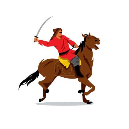 Mongolian Warrior with saber on horseback. Vector Cartoon Illustration.