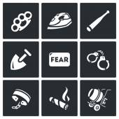 Vector Set of Slavery Icons Beatings Torture Threat Servitude Fear Captivity Shackles Cigar Construction