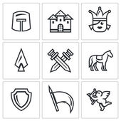 Vector Set of Kingdom Icons Knight Castle Princess Arms Battle Horse Protection Banner Love