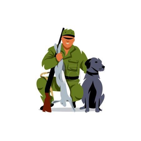 Vector Hunting. Hunter with prey. Cartoon Illustration.
